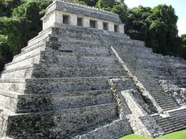 Seen here, the burial tomb of the pre-Colombian Maya king Lord Pakal stands today as a testament to the achievements of the pre-Colombian Maya civilization. The cycle of sewing and harvesting corn was integral to the lives of the ancient Maya, and for centuries leaders like Lord Pakal reinforced the importance of this crop. A modern extention of this cultural heritage, farmers throughout Chiapas still regard maize as essential to their lifestyles.